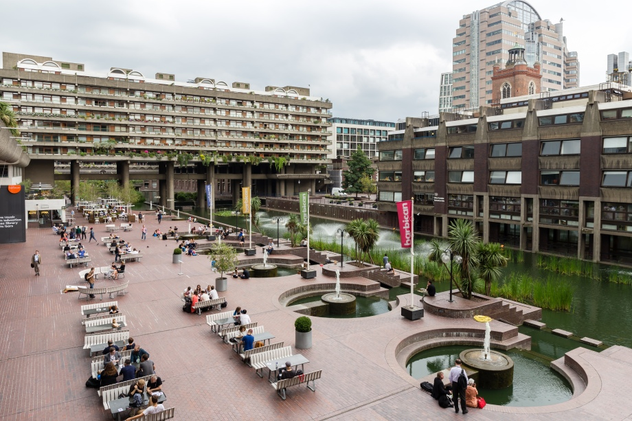 Barbican Centre lakeside terrace during Wikimania 2014.